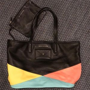 MARC by MARC JACOBS leather shoulder tote + clutch